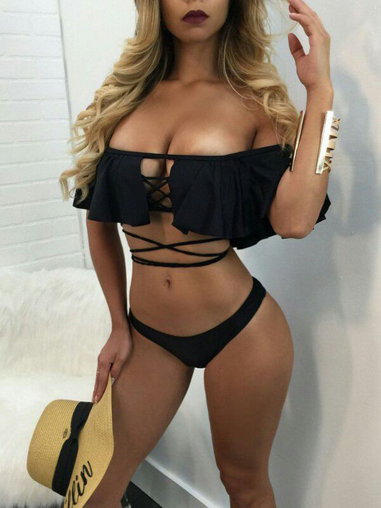 Black Off Shoulder Ruffle Lace Up Strap Bikini Top and Bottom