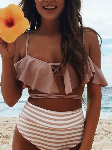 Pink Off Shoulder Ruffle Lace Up Strap Bikini Top and Bottom