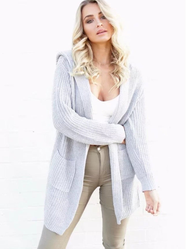 Gray Pocket Lace Up Back Long Sleeve Hooded Knit Cardigan