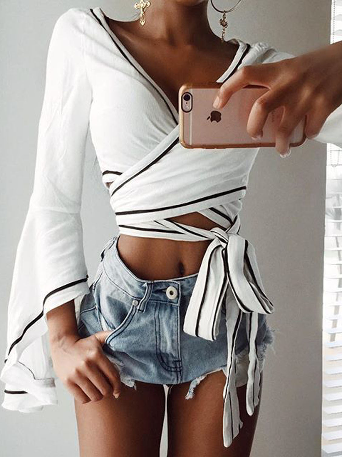 White Contrast Hem V-neck Wrap Tie Flared Sleeve Crop Top