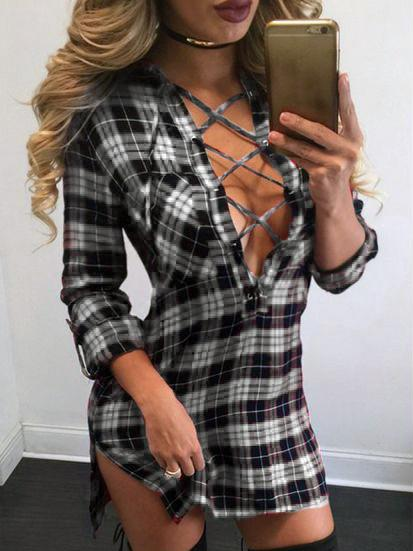 Black Plaid Plunge Lace Up Front Long Sleeve Shirt Dress