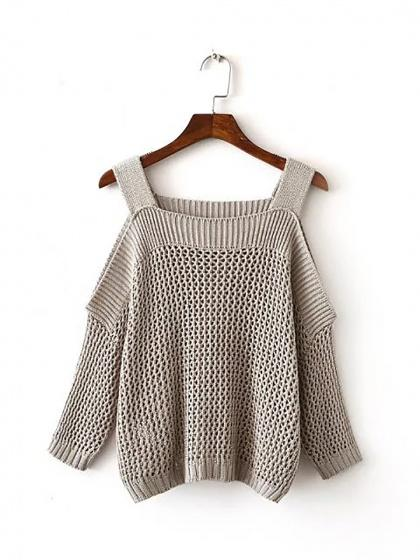 Gray Cold Shoulder Pointelle Stitch Knit Sweater