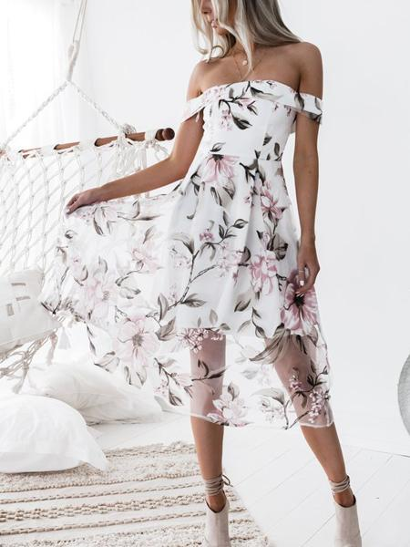 Off Shoulder Floral Overlay Midi Dress