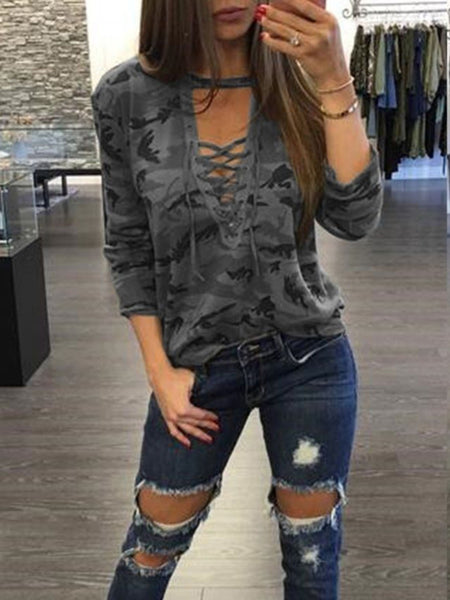 Grayish Green Camo Plunge Lace-up Front Long Sleeve T-shirt