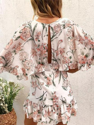 Pink Plunge Floral Print Ruffle Trim Batwing Sleeve Mini Dress