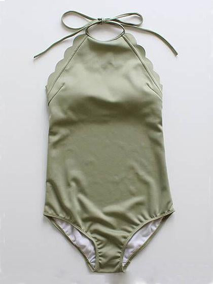 Army Green Halter Low Back Scallop Trim Swimsuit - MYNYstyle - 1