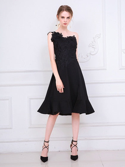 Black One Shoulder Embroidery Side Split Prom Party Dress