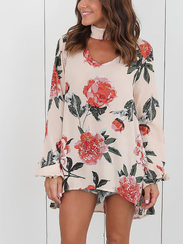 Pink Choker Neck Floral Print Long Sleeve Longline Blouse