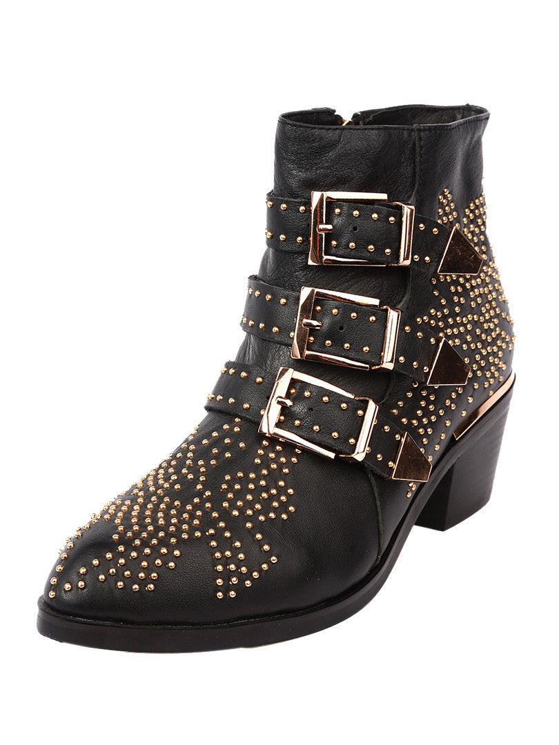 Black Pointed Stud Buckle Strap Ankle Boots - MYNYstyle - 1