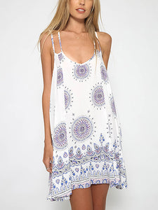 White Tribe Pattern Backless Double Strap Cami Dress - MYNYstyle - 1