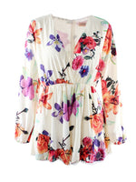 White Floral Print Long Sleeve Romper Playsuit - MYNYstyle - 4