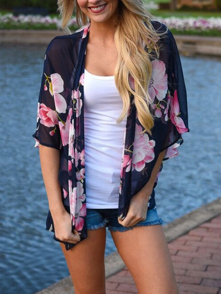 Polychrome Floral Open Front Batwing Sleeve Kimono Top