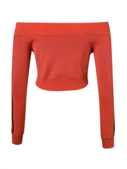 Red Off Shoulder Striped Sleeve Crop Knit Sweater