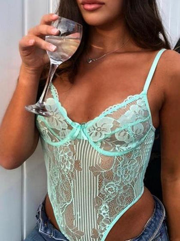 Green Spaghetti Strap V-neck Lace Bodysuit