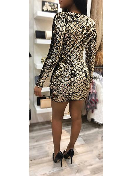 Gold Plunge Sequin Detail Long Sleeve Mini Dress