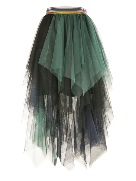 Green Contrast High Waist Mesh Tulle Skirt
