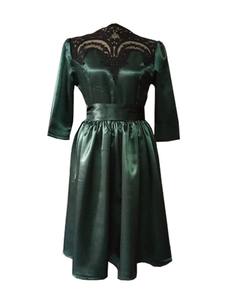 Green Lace Panel Tie Waist Long Sleeve Dress