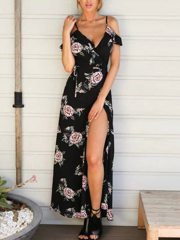 Black Floral Plunge Neck Ruffle Spaghetti Strap Tie Back Split Maxi Dress