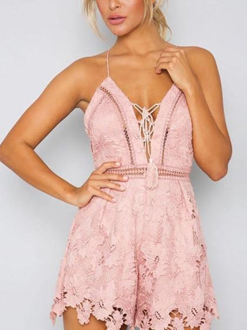 Pink Plunge Lace Up Cross BaCK Cami Romper Playsuit