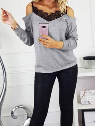 Gray V-neck Cold Shoulder Lace Panel Long Sleeve Women Sweater