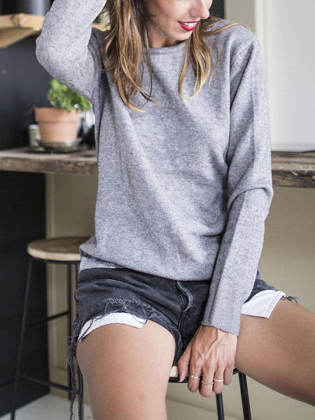 Gray Lace Up Back Long Sleeve Top