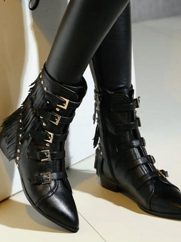 Black Leather Buckle Strap Stud And Tassel Detail Ankle Boots