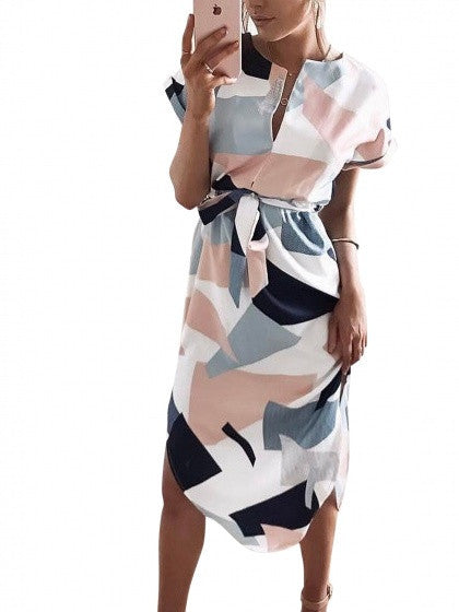 White Colorblock Geometric Strapy Tied Belt Dress