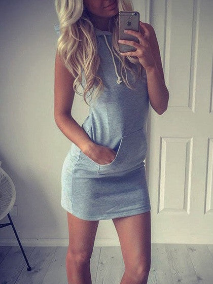 Grey Sleeveless Summer Casual Slim Hooded Dress