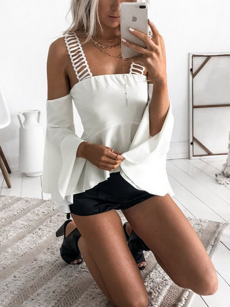 White Cold Shoulder Ruffle Hem Flare Sleeve Blouse