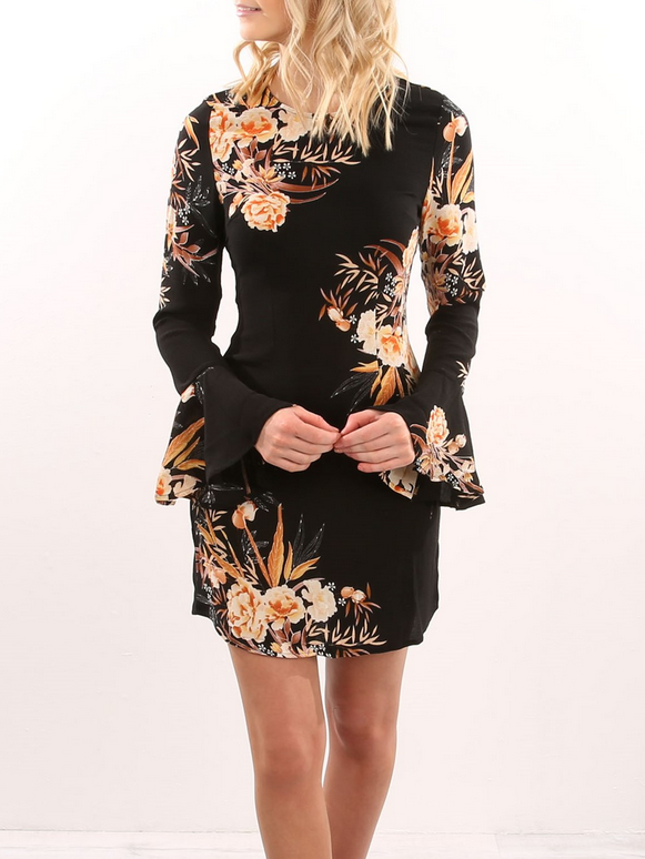 Black Floral Flare Sleeve Bodycon Mini Dress