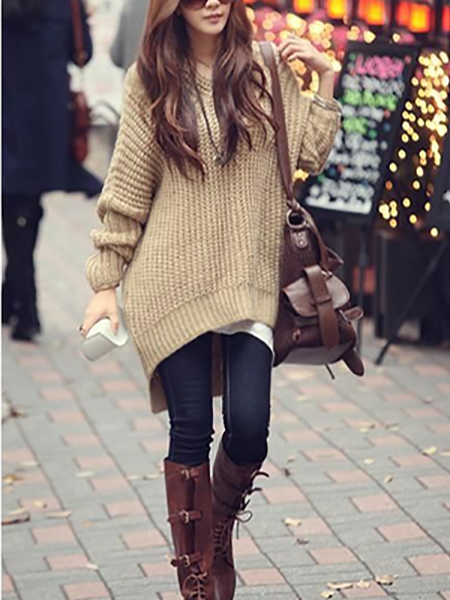 Gray Dip Dye V-neck Long Sleeve Knit Sweater