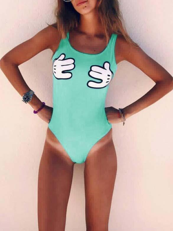 Green Palm Print Backless One-piece Swimsuit