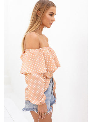 Orange Off Shoulder Polka Dot Print Ruffle Trim Blouse