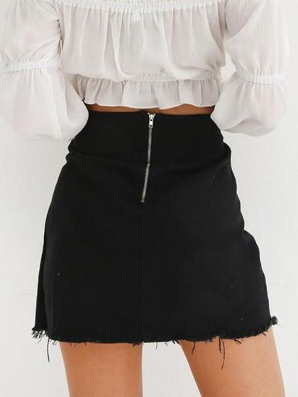 Black High Waist Lace Up Side Chic Women Denim Mini Skirt