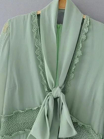 Green Plunge Sheer Lace Panel Tie Neck Ruffle Hem Dress
