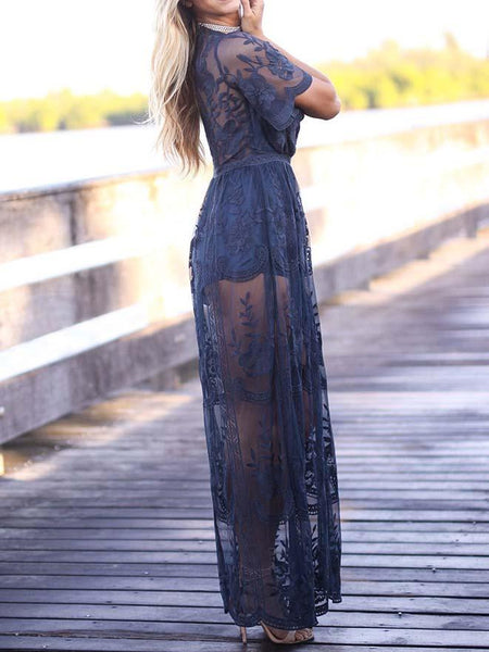 Navy Blue Plunge Thigh Split Sheer Lace Maxi Dress