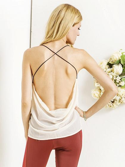 Beige Blackless Cross Strap Chiffon Vest