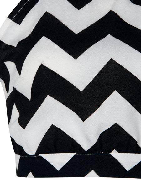 Monochrome Chevron Print Two Piece Set - chiclookcloset