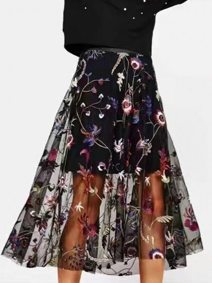 Black High Waist Floral Embroidery Mesh Midi Skirt