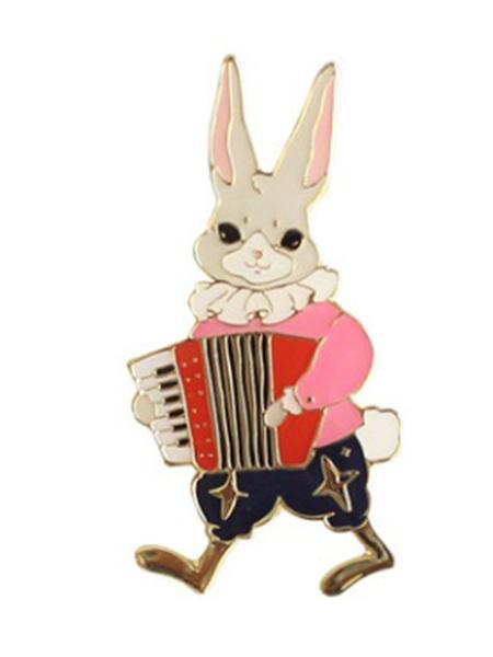 Multicolor Cute Rabbit Piano Design Brooch