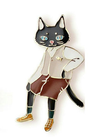 Multicolor Cute Cat Design Brooch