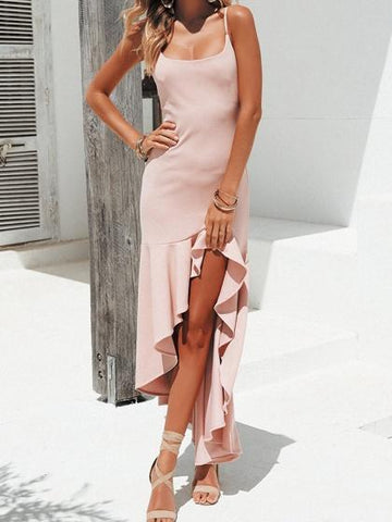 Pink Ruffle Trim Split Front Women Cami Maxi Dress