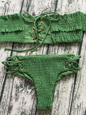 Green Stretch Lace Up Detail Bikini Top And Bottom
