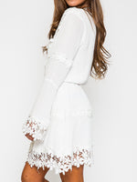 White V-neck Applique Trims Flare Sleeve Dress - MYNYstyle - 3