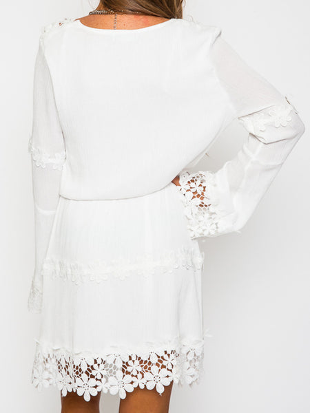 White V-neck Applique Trims Flare Sleeve Dress - MYNYstyle - 2