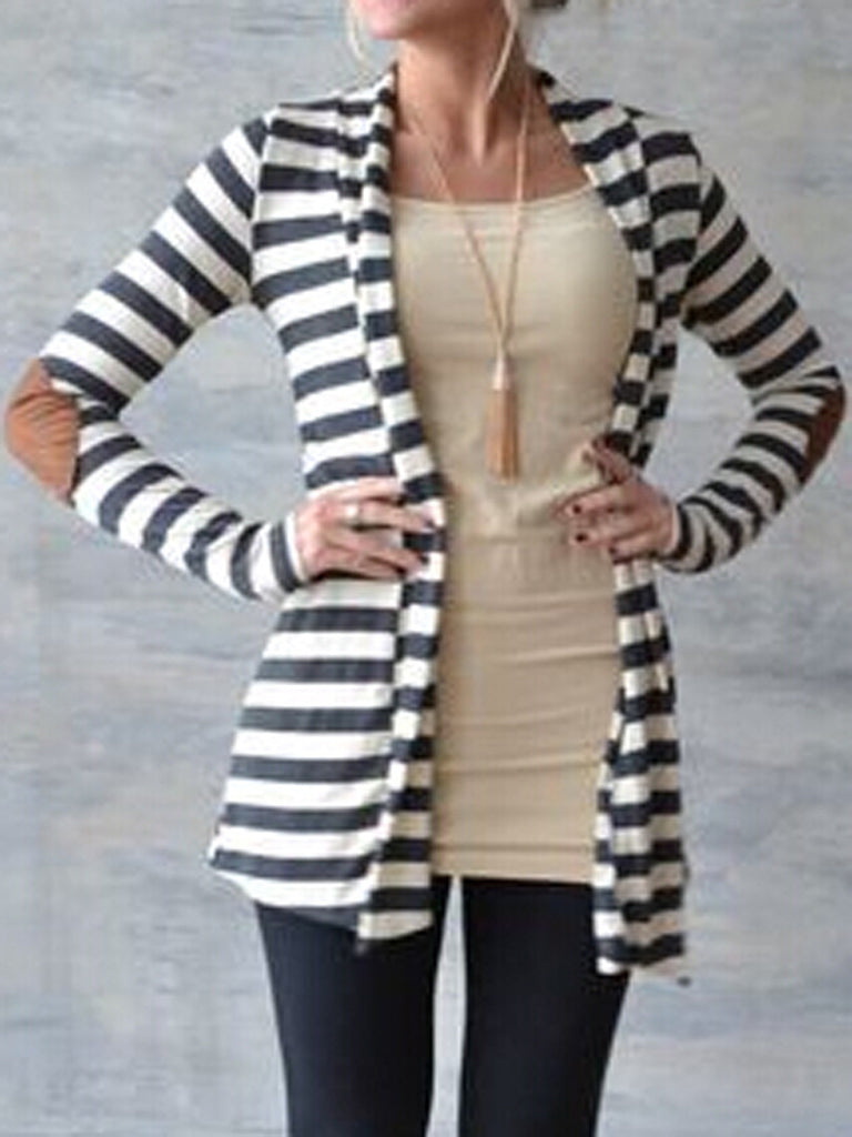 Monochrome Stripe Pu Panel Open Front Coat - MYNYstyle - 1
