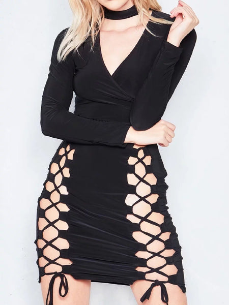 Black Choker Neck Plunge Lace Up Front Bodycon Knitted Dress