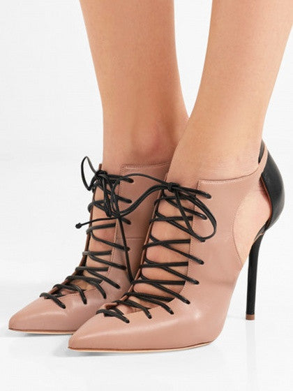 Pink Leather Lace Up Cut Out Pointed Contrast Heeled Shoes