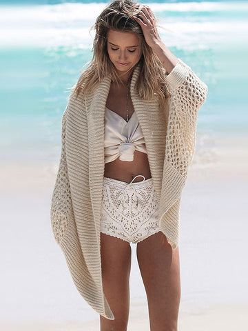 Beige Knitted Cardigan - MYNYstyle - 1