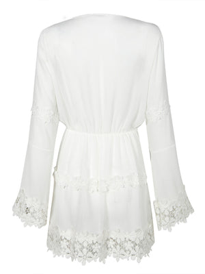 White V-neck Applique Trims Flare Sleeve Dress - MYNYstyle - 5